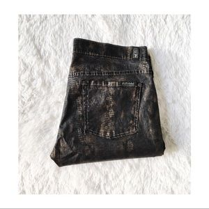 7 FAM Skinny Snakeskin Metallic Denim Jeans SZ31